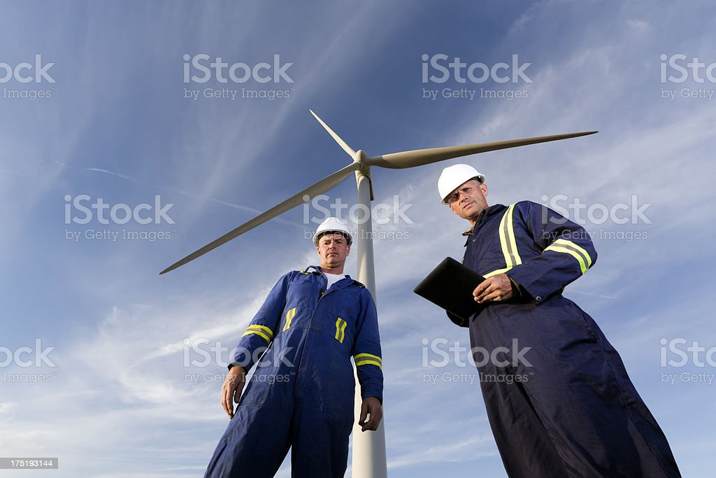 Wind Energy Workers and Turbine royalty-free stock photo