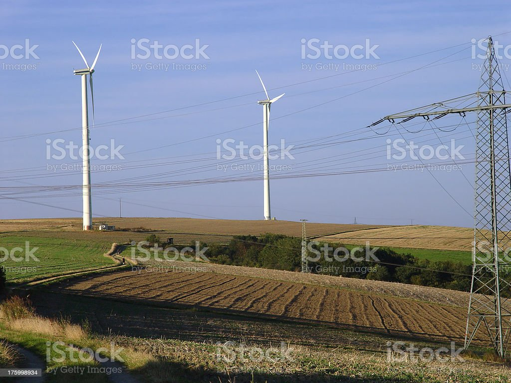 Wind Farm and Power Lines II royalty-free stock photo
