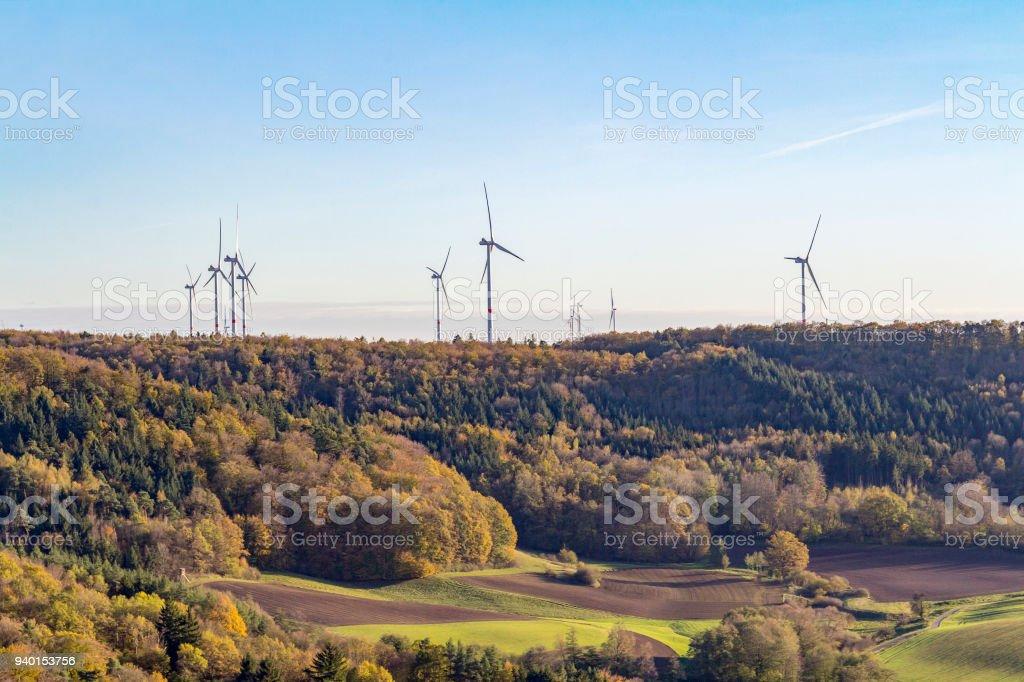 wind farm around Einkorn near Schwaebisch Hall stock photo