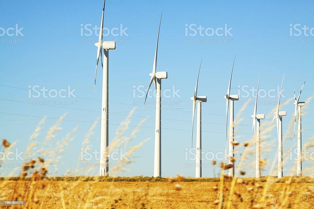 Wind farm at farmland royalty-free stock photo