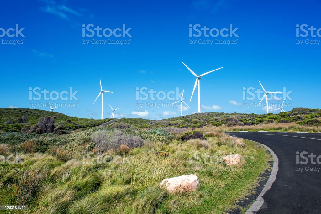 Wind Farm by the Coast - Royalty-free Agricultural Field Stock Photo