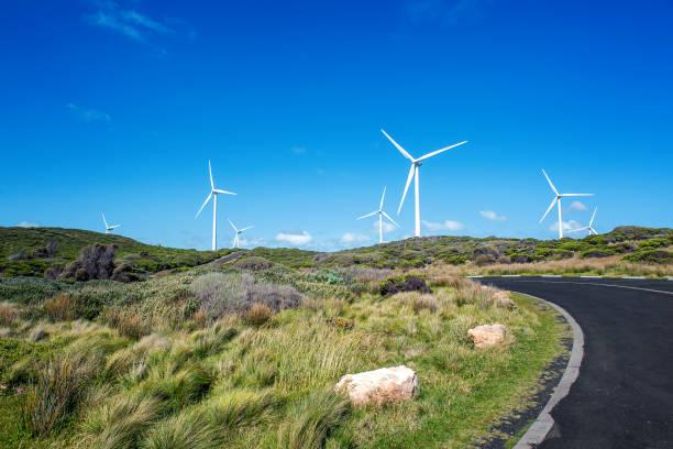 Wind Farm by the Coast stock photo