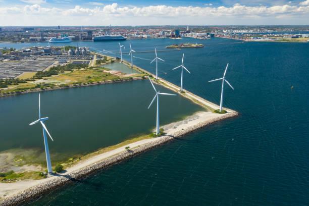 Wind farm, Copenhagen, Denmark stock photo