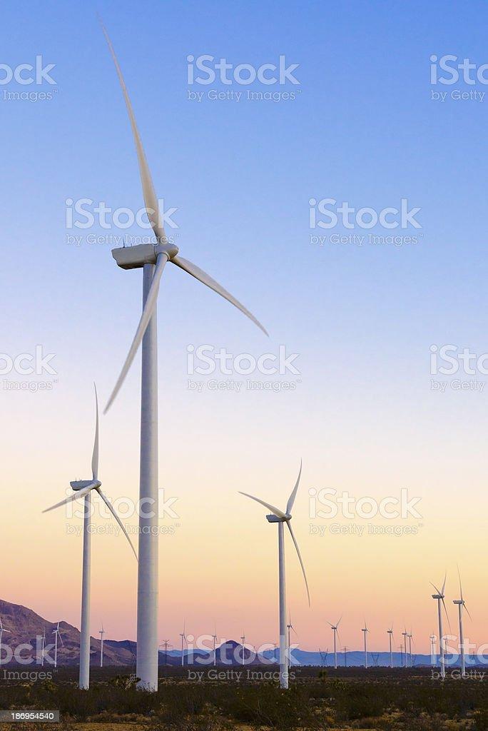 Wind Farm during sunset stock photo