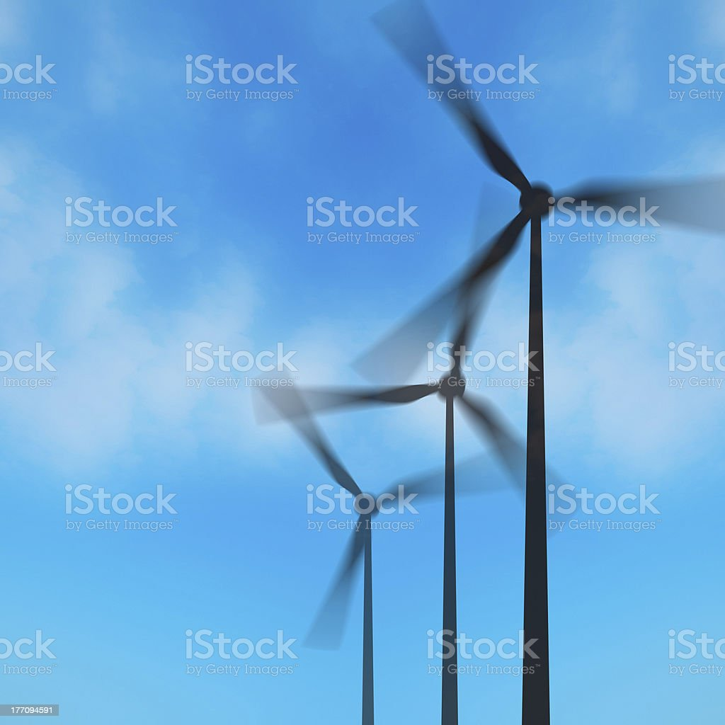 Wind farm in silhouette royalty-free stock photo
