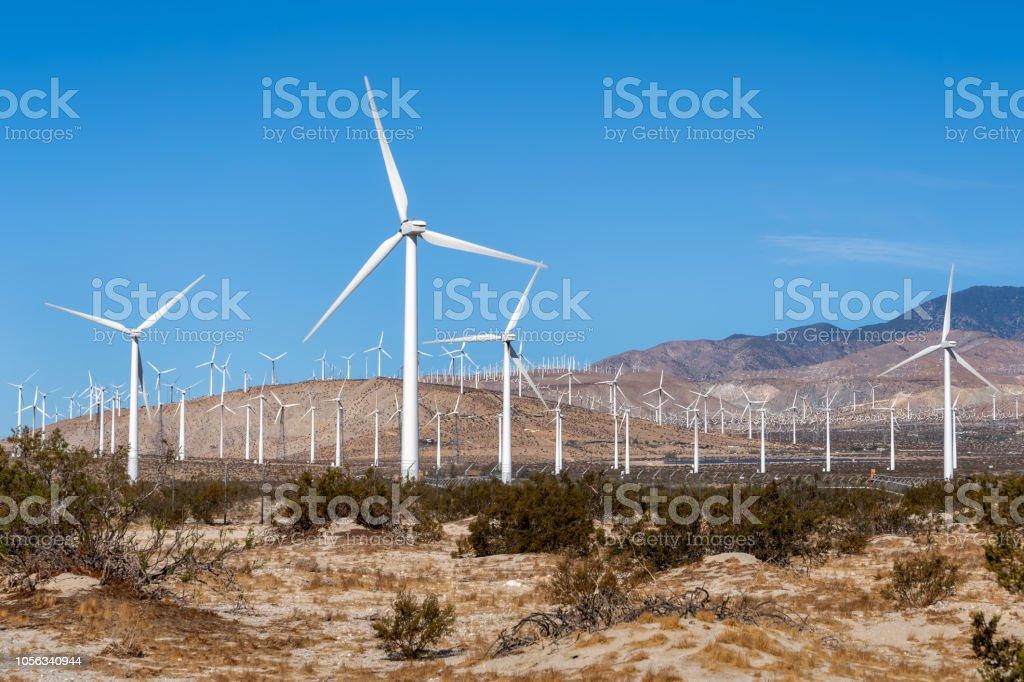 Wind Farm in the California Desert stock photo