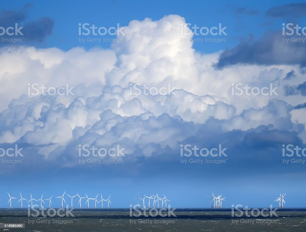 Wind Farm in the Channel 02 stock photo