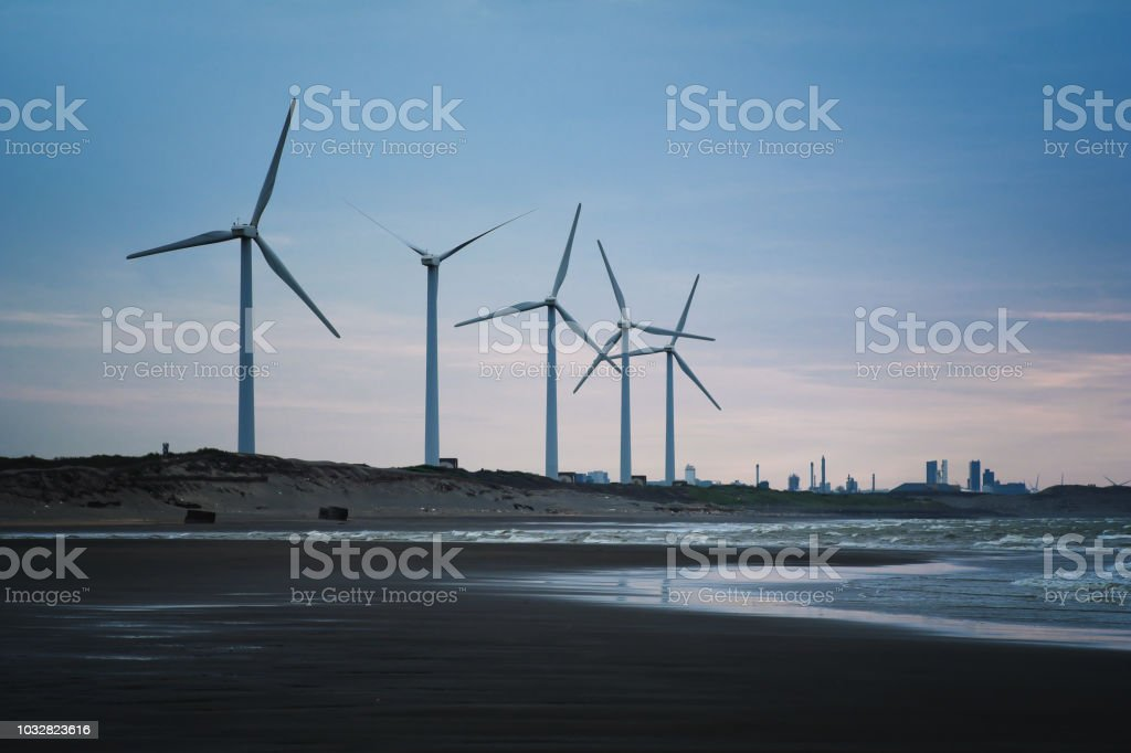Wind Farm of Coastal in Dayuan District, Taoyuan, Taiwan. stock photo