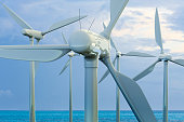 3D rendering of a wind farm over the ocean