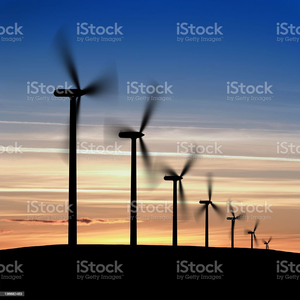 XXL wind farm silhouette royalty-free stock photo