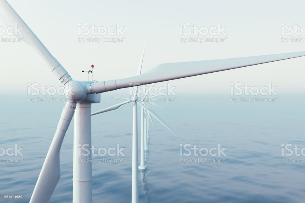 Wind farm turbines caught in sunset sky. Beautiful contrast with the blue sea. ecological concept. 3d rendering stock photo