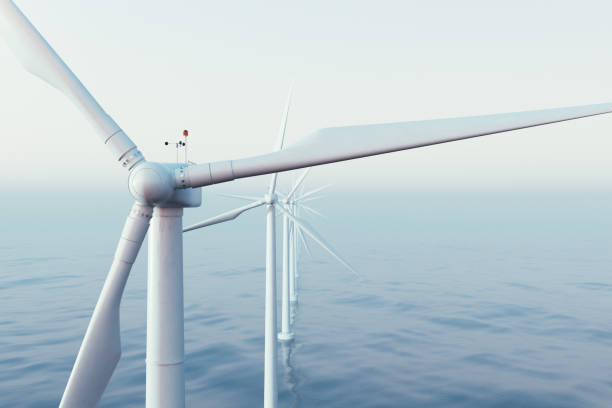 Wind farm turbines caught in sunset sky. Beautiful contrast with the blue sea. ecological concept. 3d rendering Wind farm turbines caught in sunset sky. Beautiful contrast with the blue sea. ecological concept, 3d rendering windmill stock pictures, royalty-free photos & images
