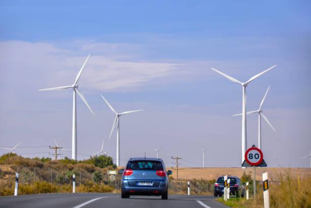 Wind Farm Turbines - Renewable Clean Green Energy stock photo