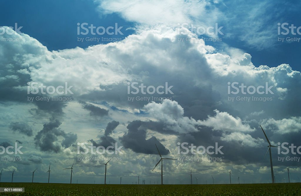 wind farm with turbines, clouds and grass royalty-free stock photo