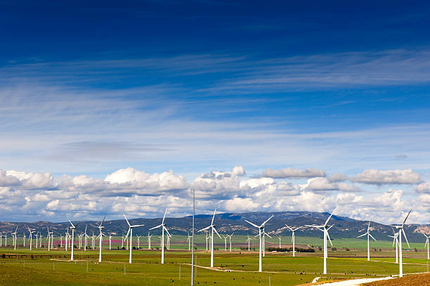 Wind farm with turbines in southern Spain stock photo