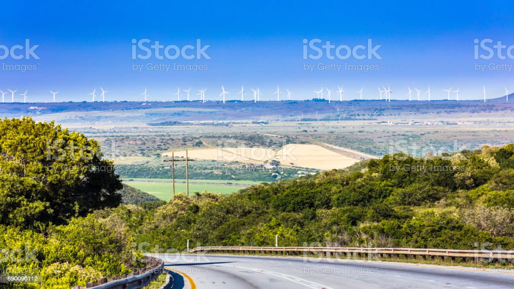 Wind farm with wind turbines in the Eastern Cape stock photo
