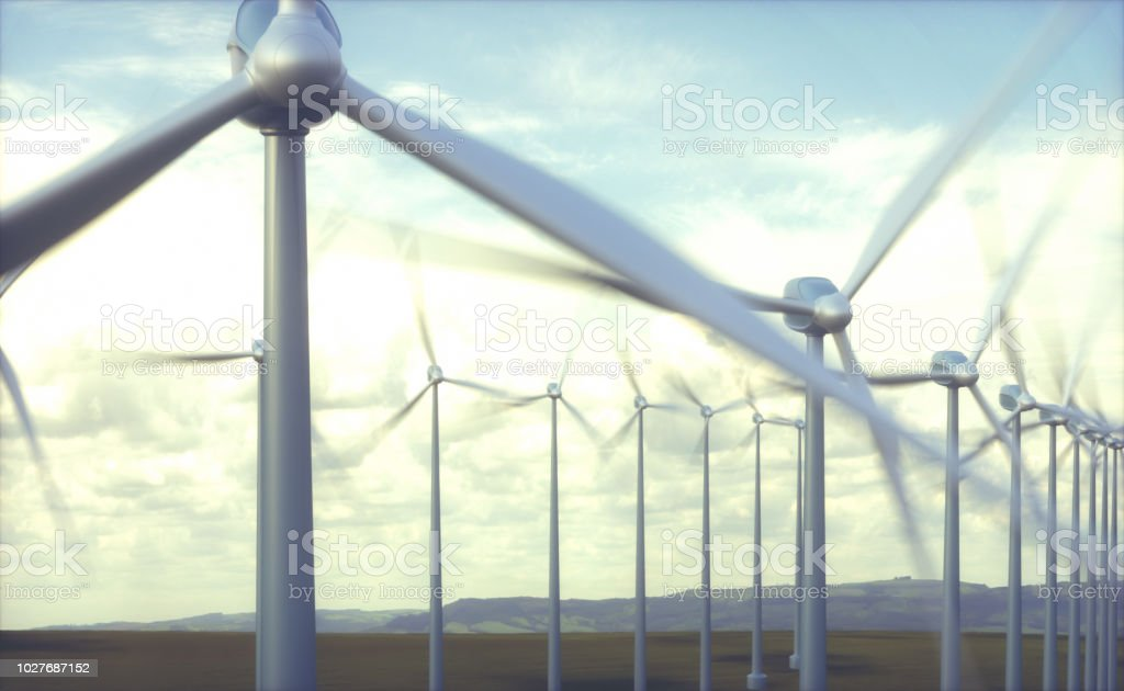 Wind farms in wind power generation. Mechanical energy being...