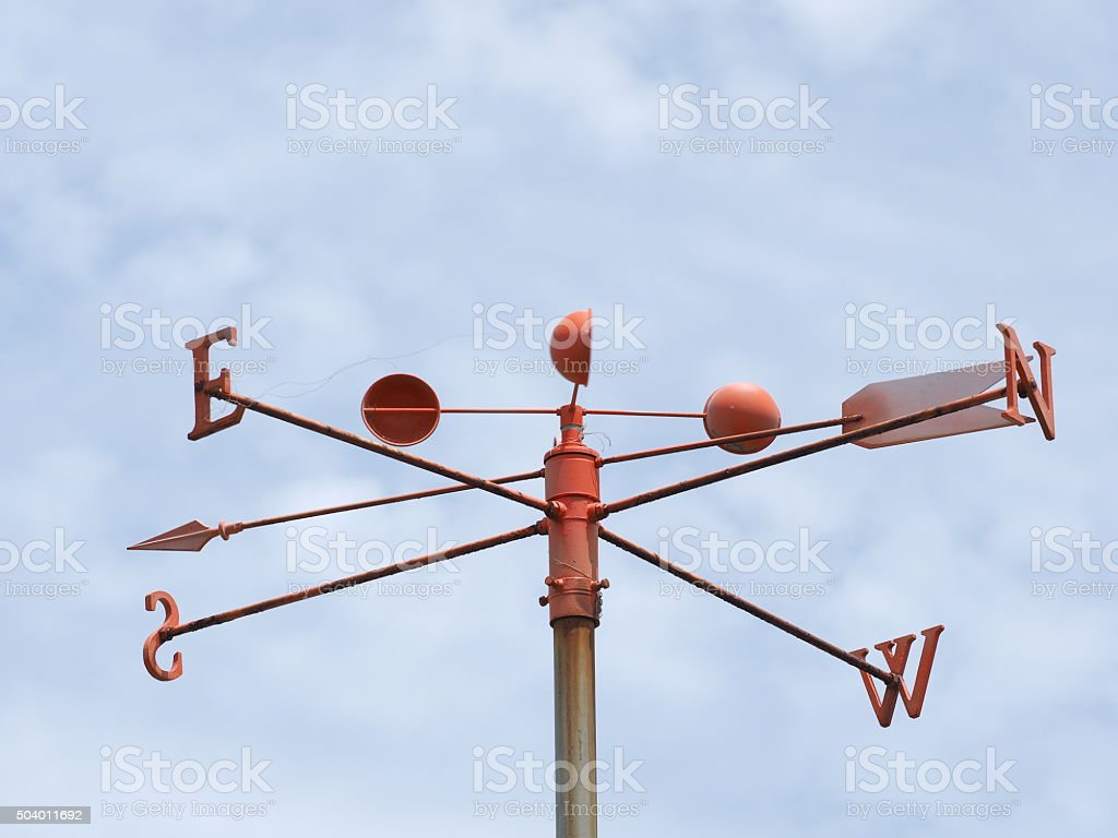 Wind gauge at a pier stock photo
