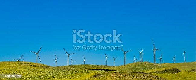 many wind generators on a green hill near San Francisco