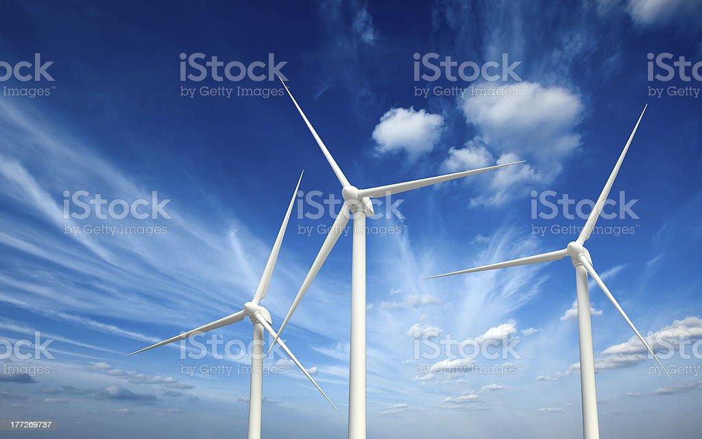 Wind generator turbines in sky royalty-free stock photo
