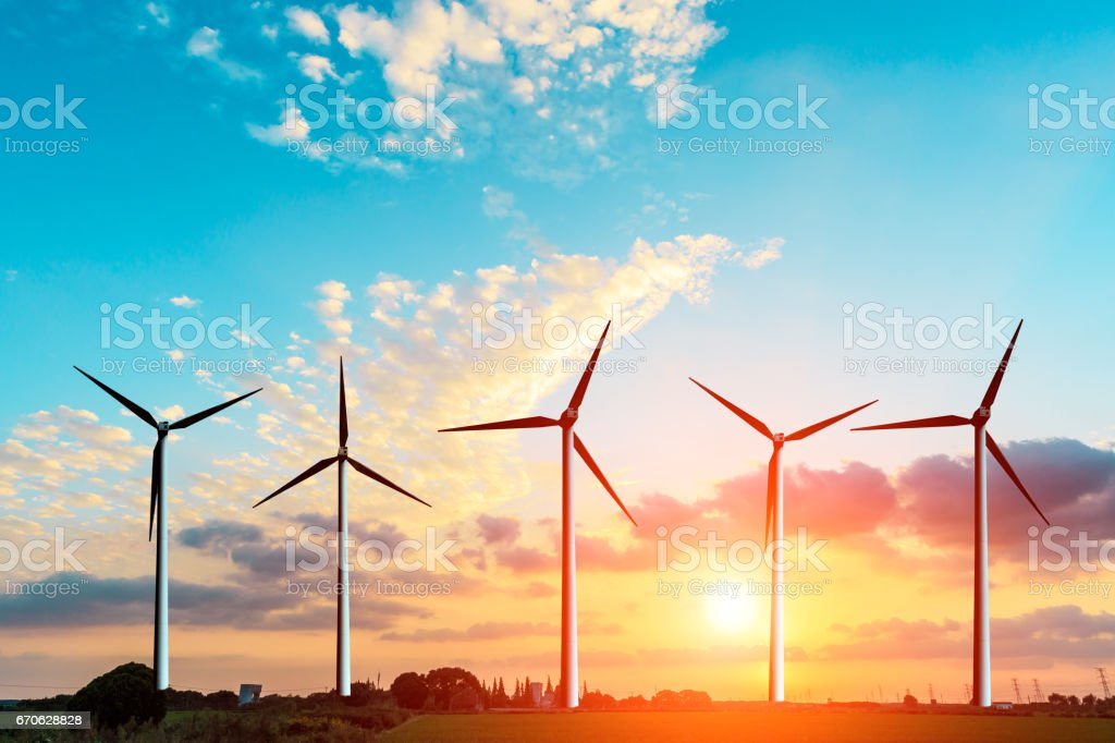 wind generators scene at sunset stock photo