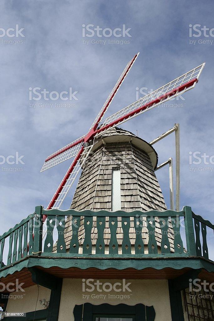 Wind mill at Dutch flower market stock photo