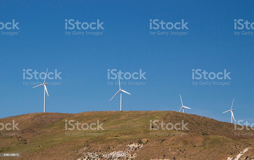 wind mills on the hill stock photo