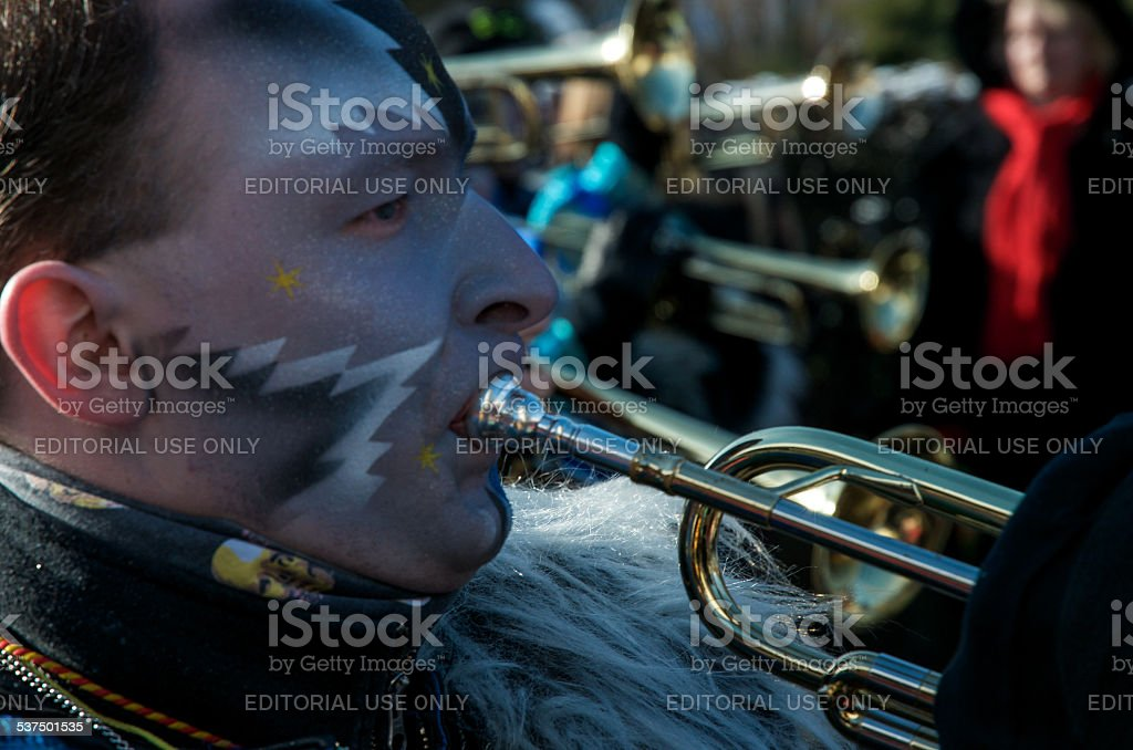 Wind music player on the carnival move stock photo
