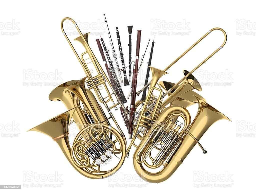Wind Musikinstrumente auf weißem 3D-Abbildung – Foto