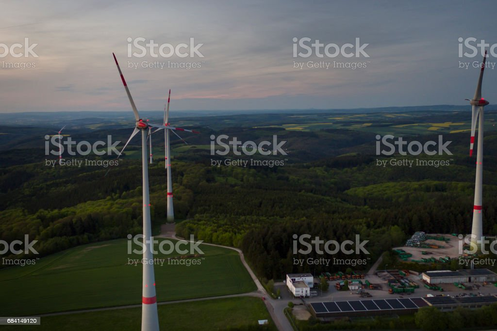 Wind park at dusk - aerial view zbiór zdjęć royalty-free
