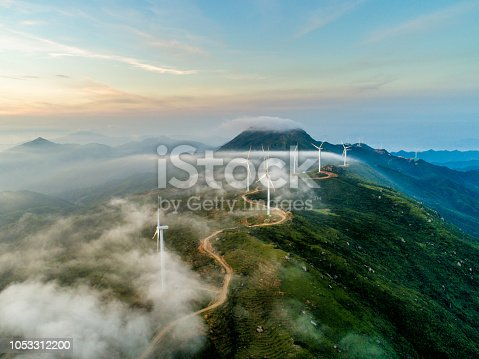 The wind field of the mountain ridge. High angle aerial photography.