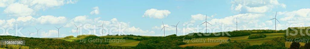 wind farm in Pennsylvania mountains, USA. Stiching panorama from some...