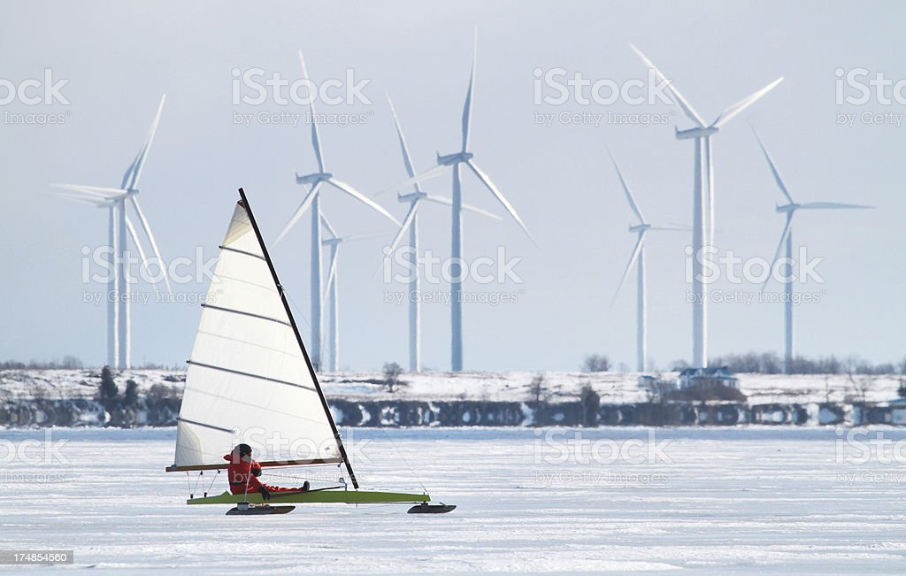 Wind Power: Ice boating royalty-free stock photo