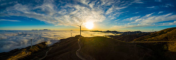 Wind Power in the sea of clouds,Guilin,China