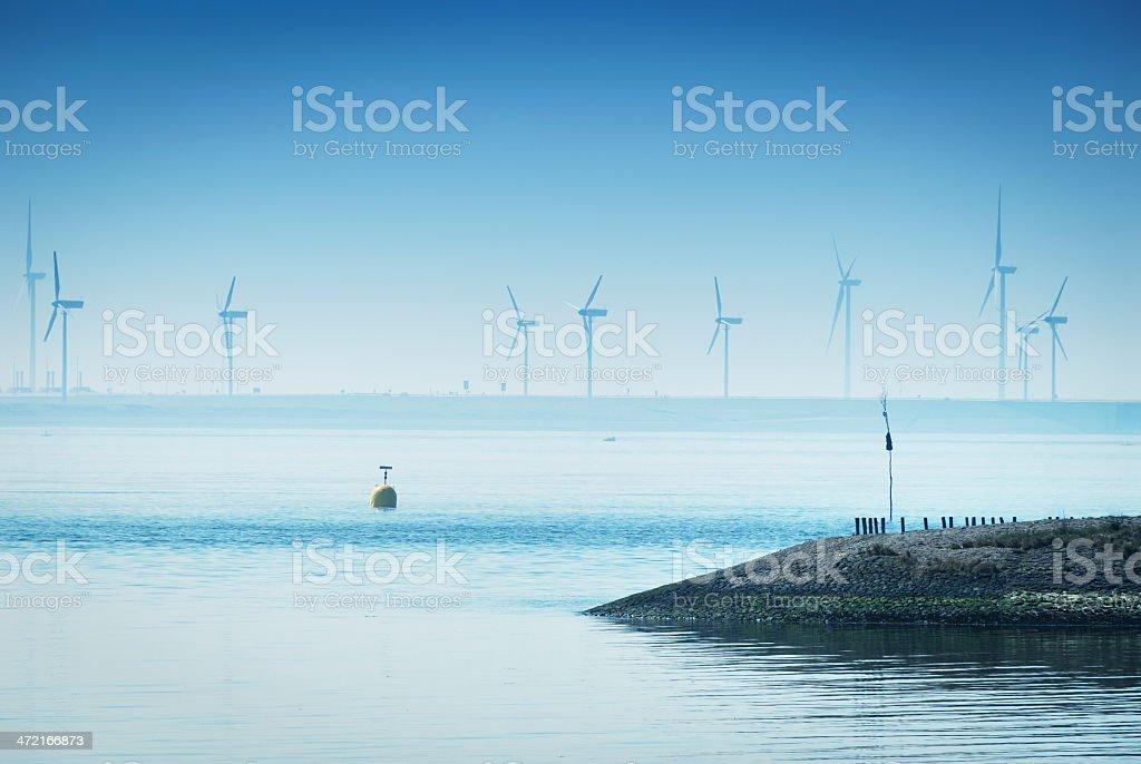 Wind power in Zeeland,the Netherlands stock photo