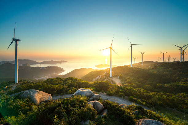wind power - turbine stock-fotos und bilder