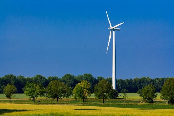 Wind power plant, energy systems, renewable energy stock photo