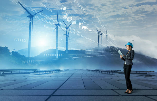 wind power plant. renewable energy concept. - power in nature stock photos and pictures
