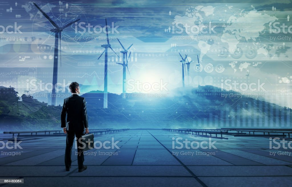 wind power plant. renewable energy concept. stock photo