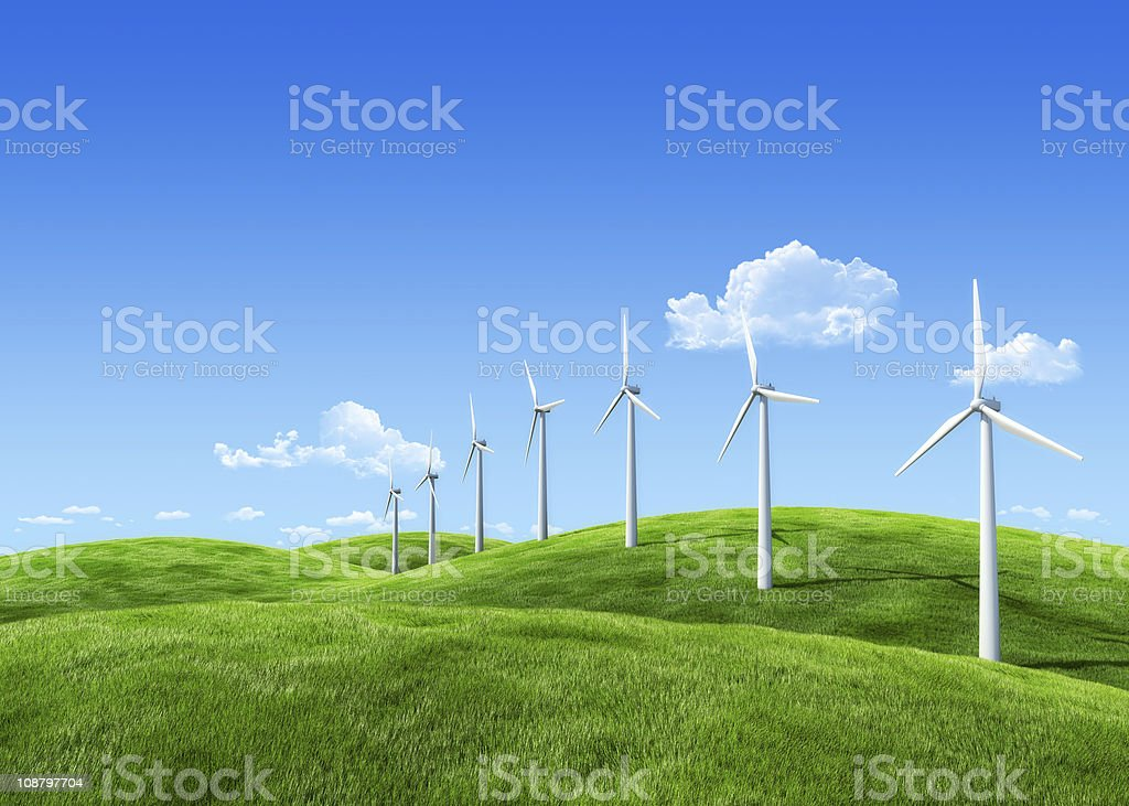Wind power station: extremely detailed grass, 7000px wide royalty-free stock photo