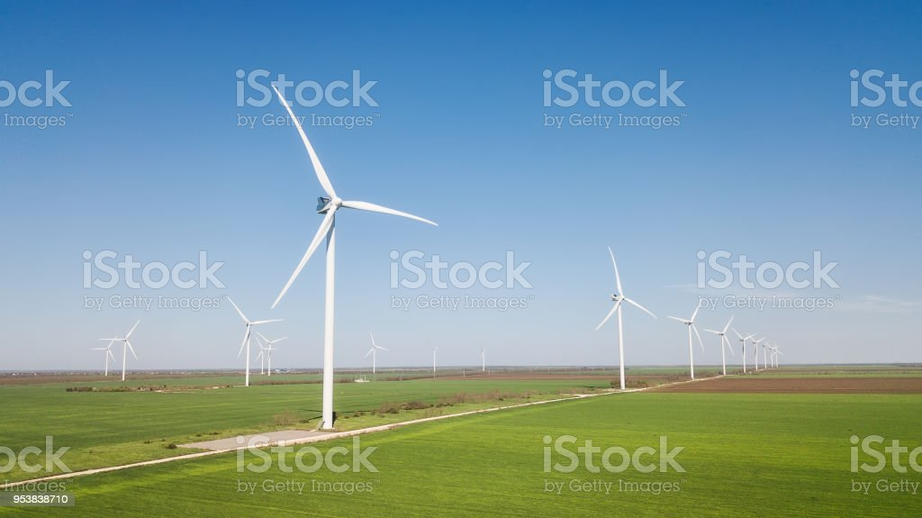 Wind power station on the field. Concept and idea of alternative...
