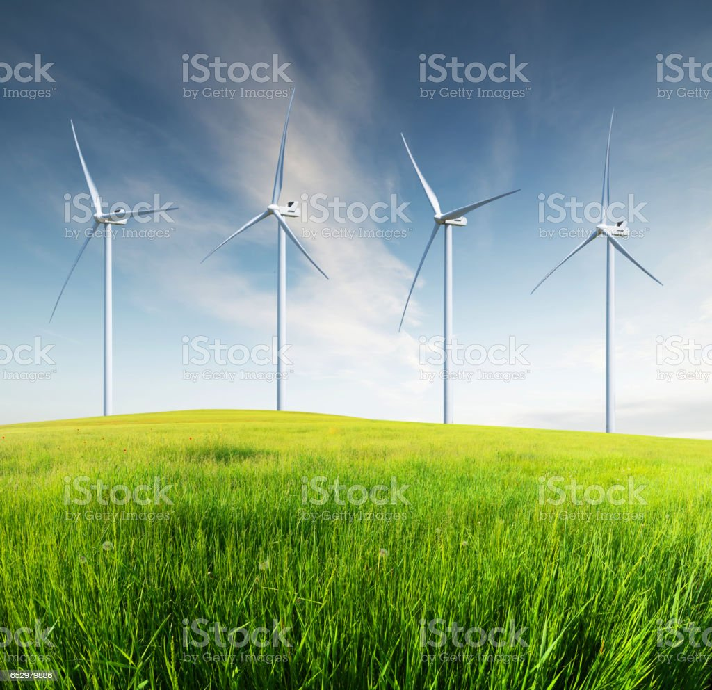 Wind power station stock photo