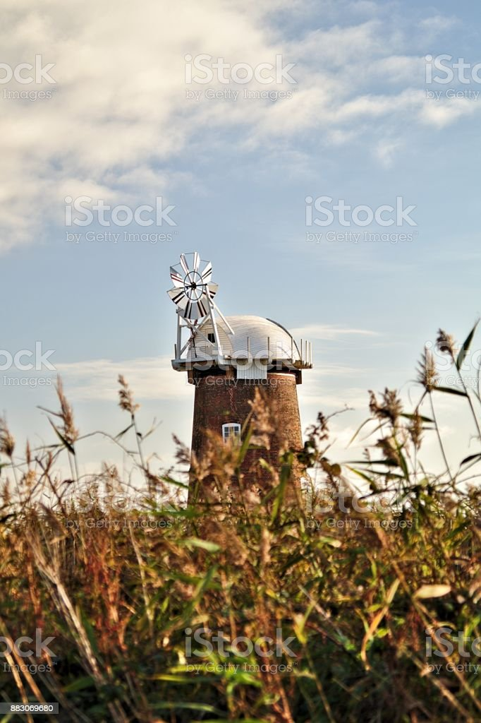 wind powered pumping station stock photo