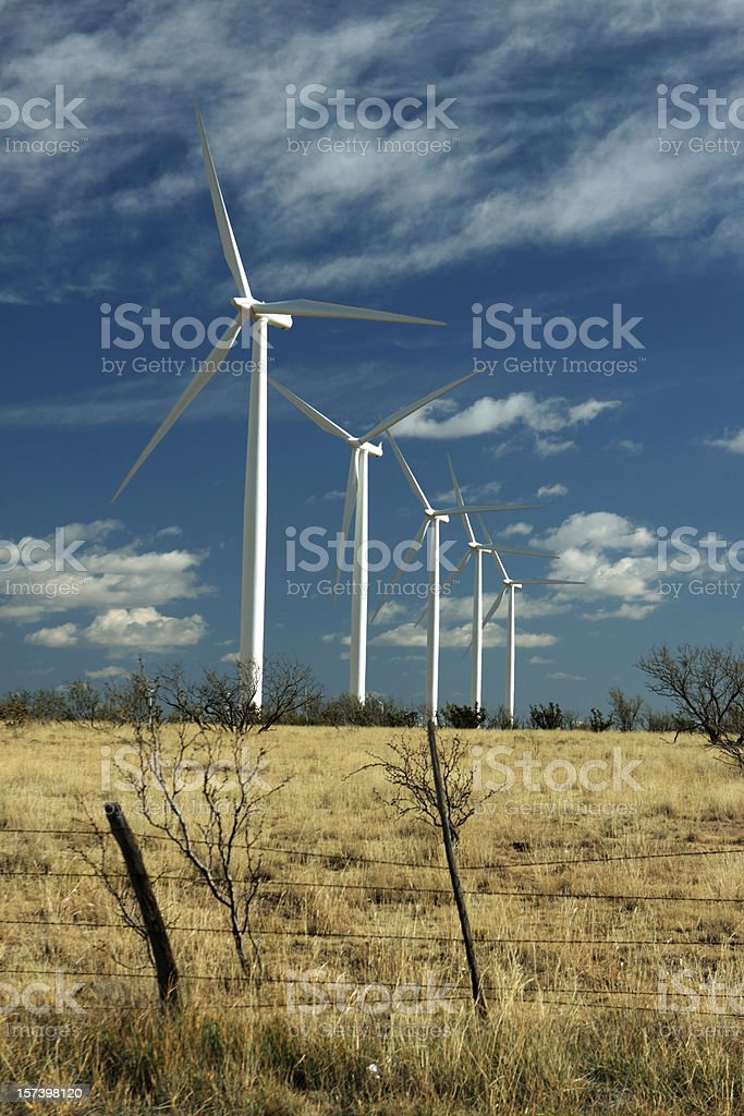 Wind Ranch turbines on dry Texas grasslands stock photo