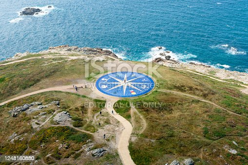 La Coruña, Galicia, Spain . July 6, 2019: The wind rose as seen from the hercules tower