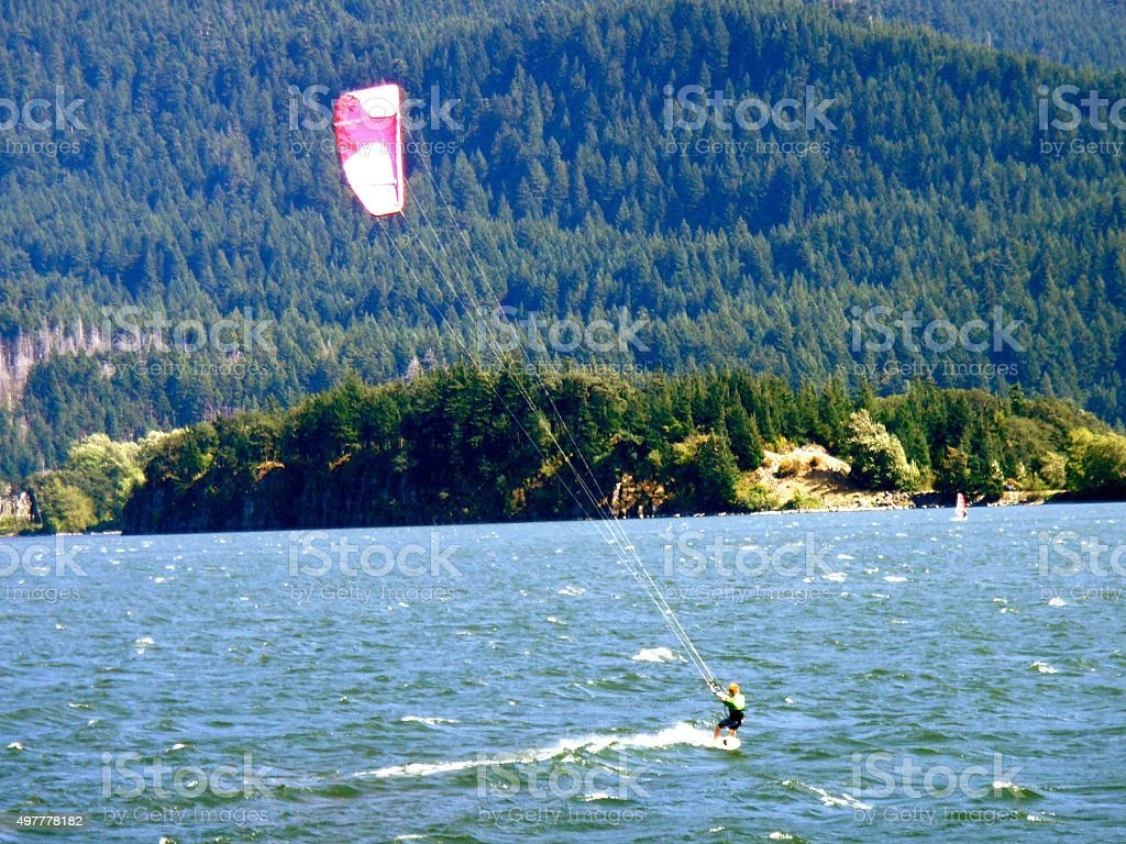 Wind Sail Surfing Kiteboarding in Columbia River Gorge stock photo