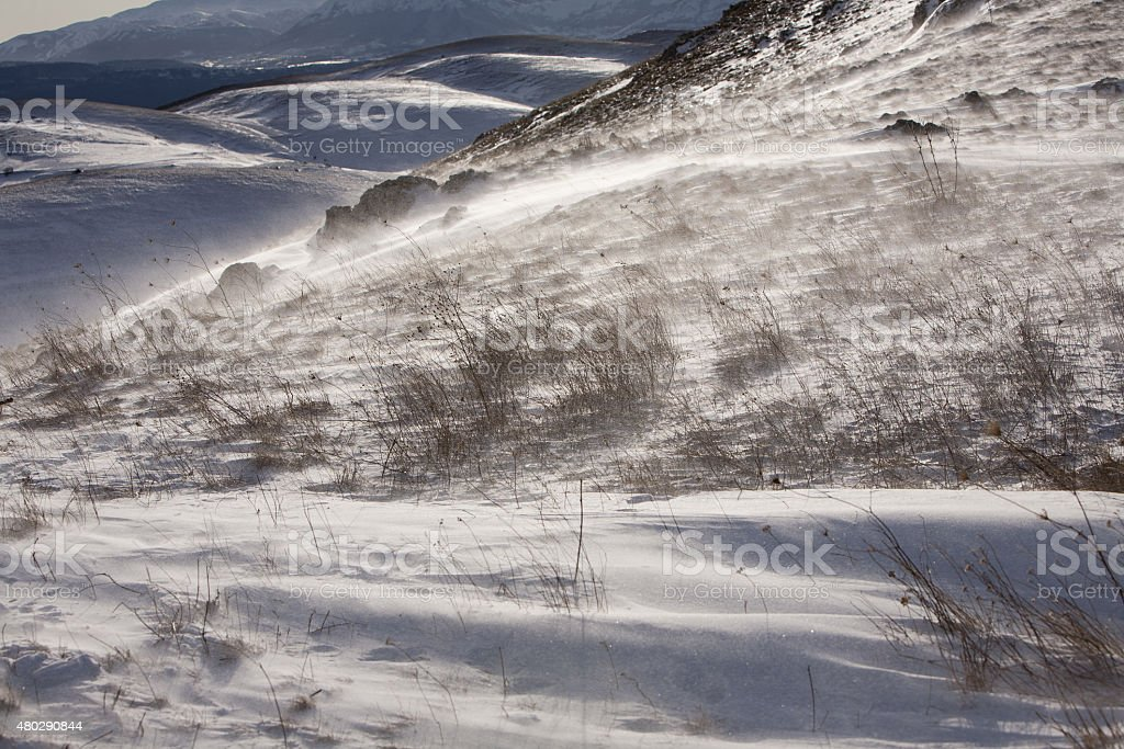 wind storm in the mountains stock photo