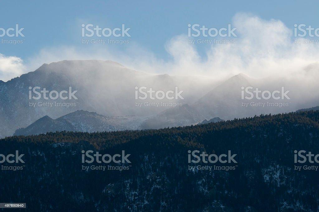 Wind Storm on Pikes Peak Colorado stock photo