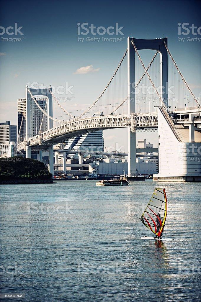 Wind Surfing in Tokyo Bay stock photo