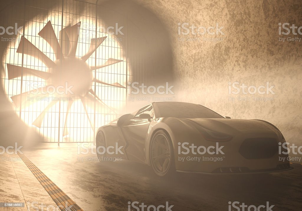 Wind Tunnel Concept Car stock photo